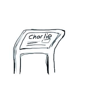 Tekening van informatiebord over Charlie